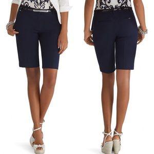 WHBM navy blue bermuda stretch coastal shorts 10